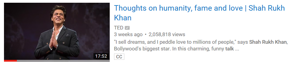 Shahrukh Khan's TedTalk in Vancouver BC, 2017